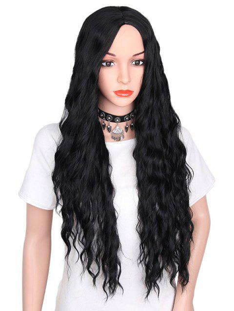 Middle Part Long Natural Wavy Synthetic Party Wig - BLACK