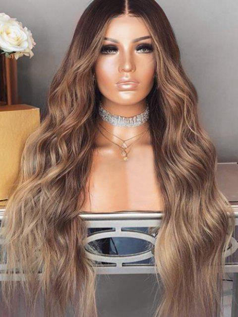 Middle Part Colormix Long Wavy Synthetic Wig - multicolor