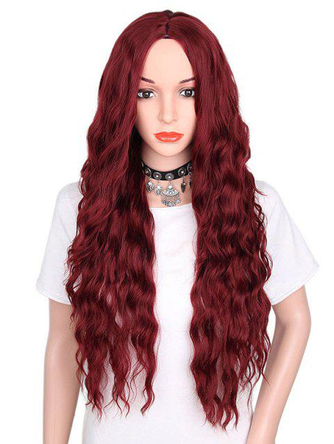 Middle Part Long Natural Wavy Synthetic Party Wig - RED WINE
