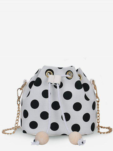Polka Dot Chic Beaded String Crossbody Bag - MILK WHITE