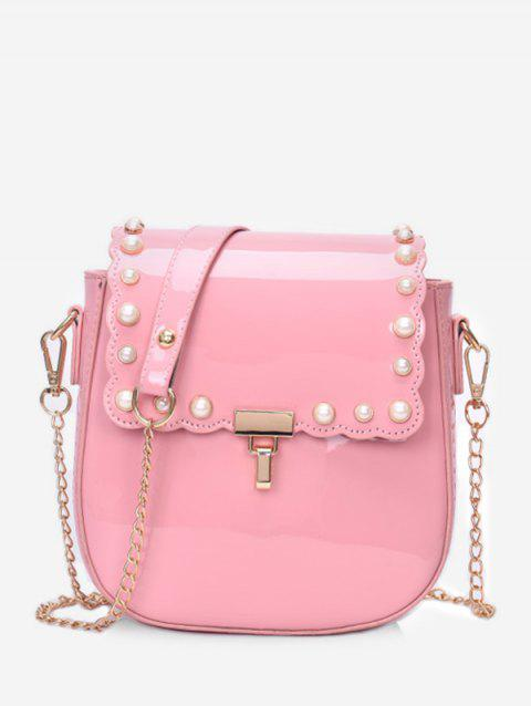 Scallop Flapped Faux Pearl Embellished Crossbody Bag - LIGHT PINK