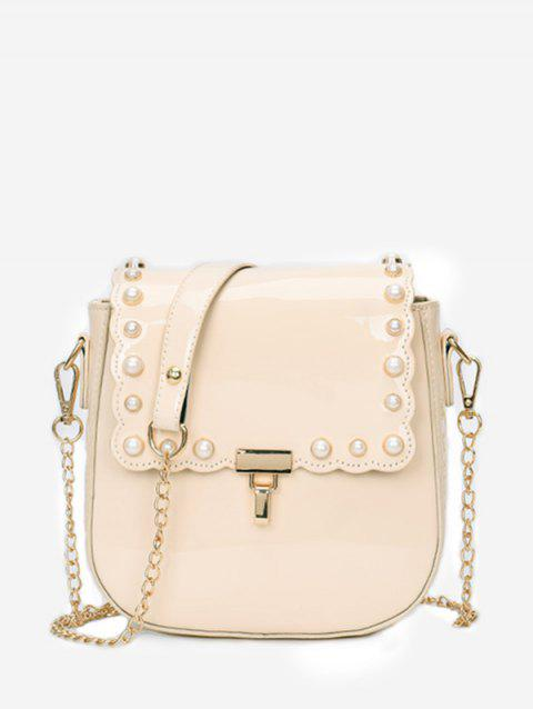 Scallop Flapped Faux Pearl Embellished Crossbody Bag - WARM WHITE