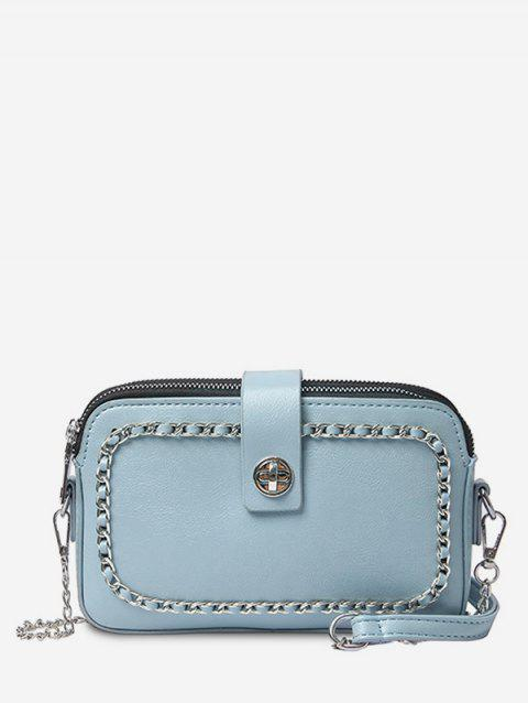 Metal Chain Chic PU Leather Crossbody Bag - OCEAN BLUE