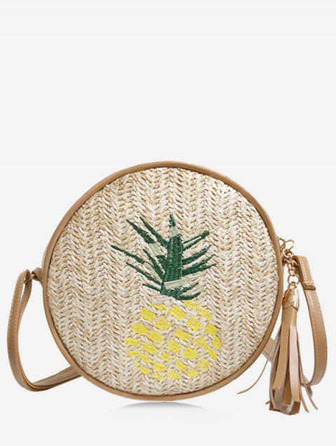 Pineapple Embroidery Tassel Round Crossbody Bag - LIGHT KHAKI