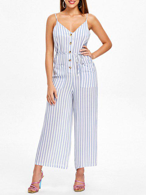 Striped Spaghetti Strap Jumpsuit - SKY BLUE XL
