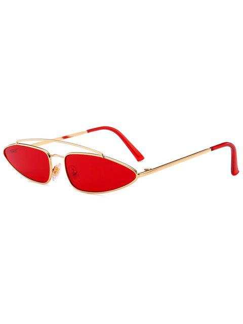 Unique Irregular Lens Crossbar Sunglasses - RED