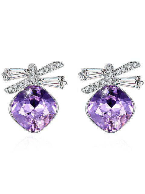Stylish Rhinestone Inlaid Bowknot Crystal Earrings - HELIOTROPE PURPLE