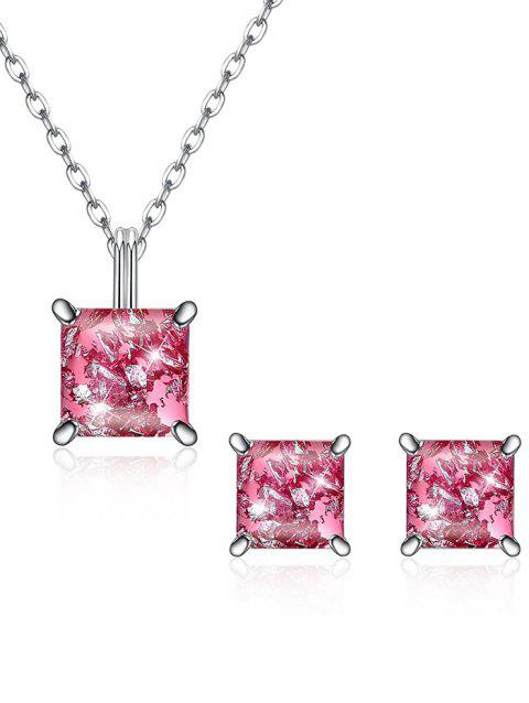 Elegant Square Crystal Inlaid Pendant Necklace Earrings Set - HOT PINK