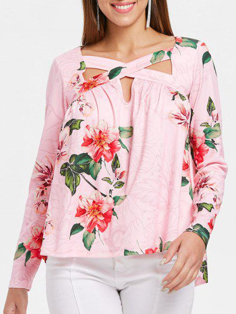 Floral Printed Cross Front Long Sleeve T-shirt - PINK M