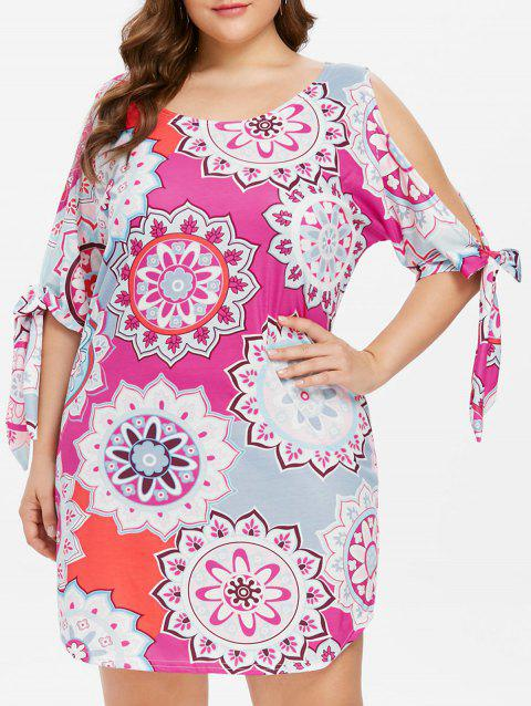 Plus Size Tie Sleeve Cut Out Dress - multicolor 3X