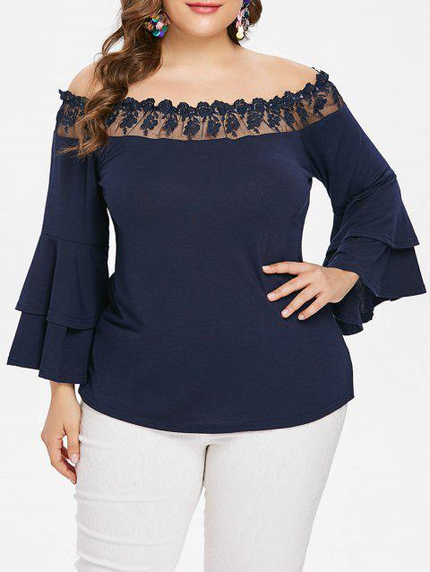 Plus Size Mesh Applique Off Shoulder Blouse - CADETBLUE 1X