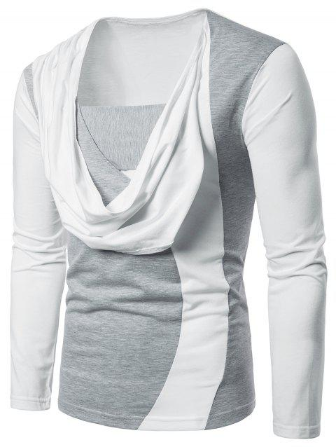 Two Tone Chest Open Scarf Combined Long Sleeve Tee - WHITE 2XL
