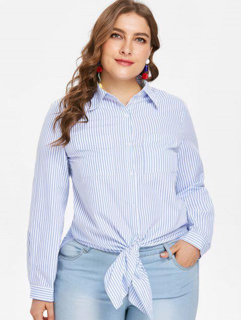 Plus Size Striped Tunic Shirt - JEANS BLUE 4X