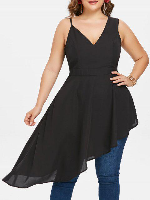 Plus Size Sleeveless Flared Asymmetric Top - BLACK 5X