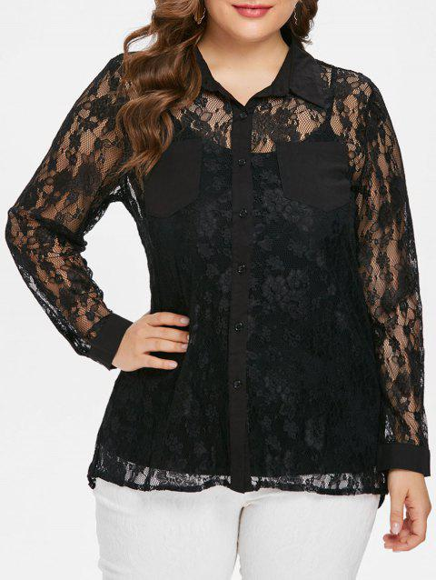 Plus Size Sheer Lace Blouse and Camisole - BLACK 3X