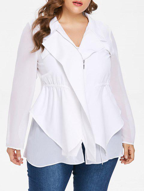 Plus Size Chiffon Panel Asymmetric Blazer - WHITE 3X