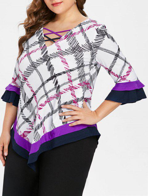 Plus Size Flare Sleeve Plaid T-shirt - multicolor 1X