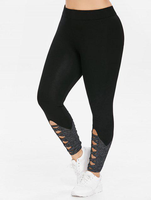 Plus Size Cutout High Waisted Leggings - BLACK 4X