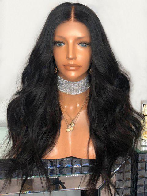 Middle Part Long Wavy Heat Resistant Synthetic Wig - BLACK
