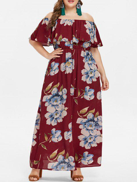 cb9bce62092 58% OFF  2019 Plus Size Print Ruffle Off Shoulder Dress In RED WINE ...