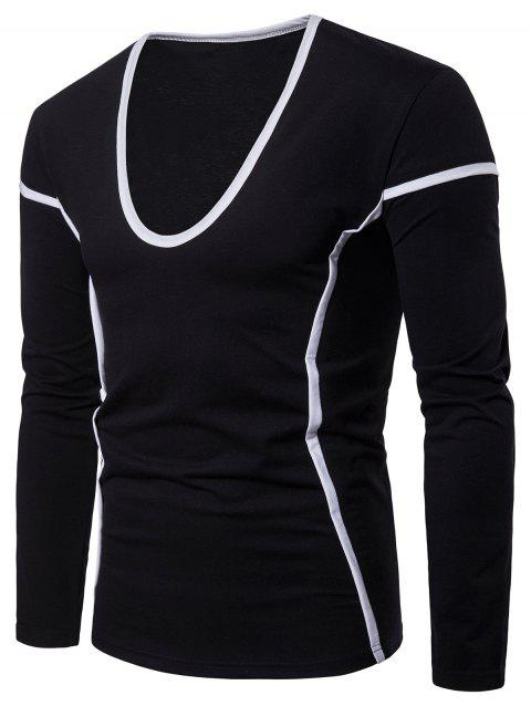 Color Block Seam Detail Long Sleeve T-shirt - BLACK M