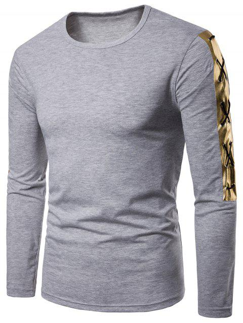 Criss Cross Gold Stamping Tee - GRAY L