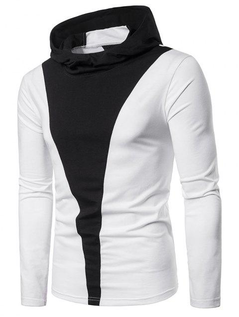 Contrast Color Long Sleeve Hooded T-shirt - WHITE 2XL