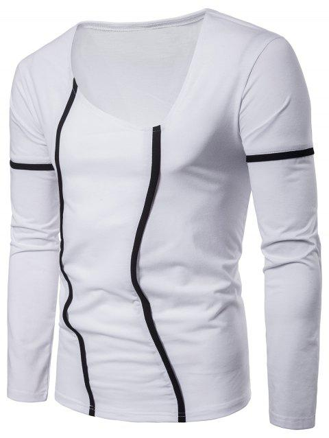 Contrast Color Stripes Seams Detail Long Sleeve Tee - WHITE S