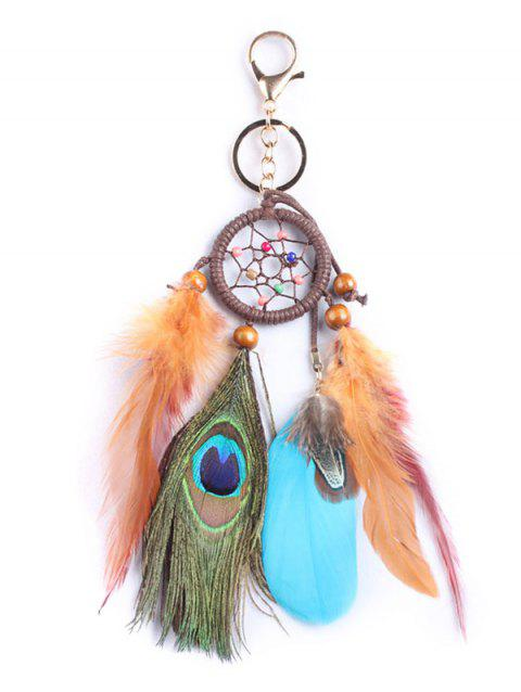 Key Ring Handmade Feathers Dream Catcher - multicolor 25*5CM