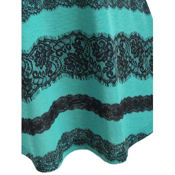 Lace Panel Low Back Tank Top - GREENISH BLUE S
