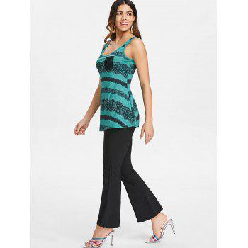 Lace Panel Low Back Tank Top - GREENISH BLUE XL