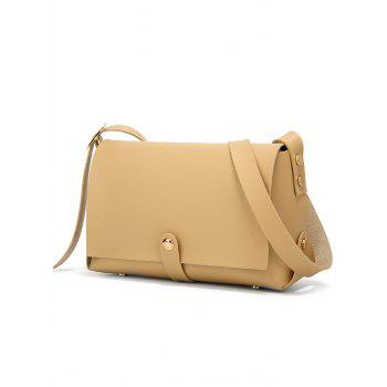 Flapped Chic Functional Faux Leather Sling Bag - APRICOT