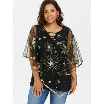 Plus Size Cutout Asymmetric Sparkly Capelet Blouse - BLACK 5X