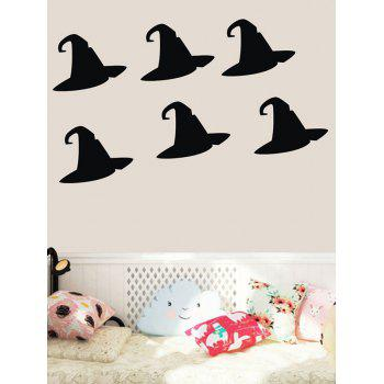 Halloween Witch Hat Print Wall Art Stickers - BLACK
