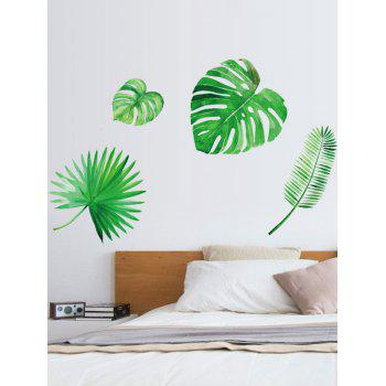 Leaf Print Removable Wall Stickers - GREEN