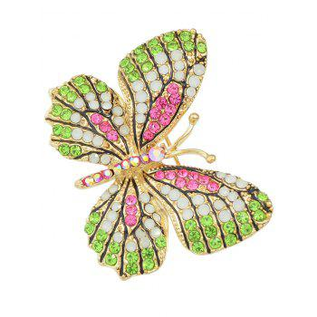 Butterfly Brooch With Rhinestone - ROSE RED