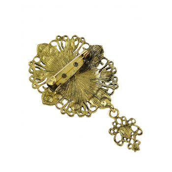 Faux Crystal Cameo Brooch - GOLD