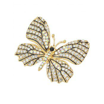 Butterfly Brooch With Rhinestone - WHITE