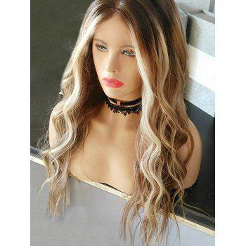 Middle Part Long Wavy Party Colormix Synthetic Wig - multicolor