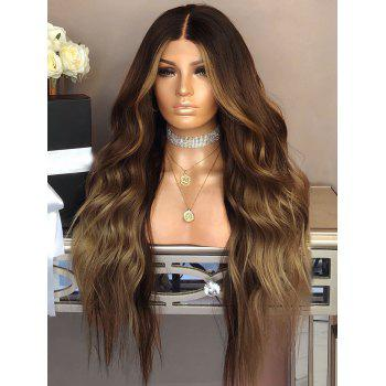 Long Middle Part Wavy Colormix Party Synthetic Wig - multicolor