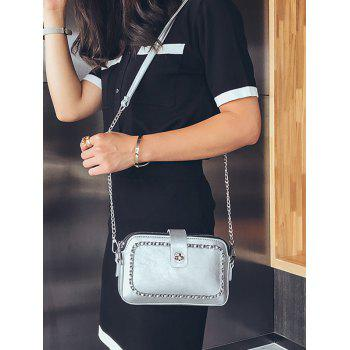 Metal Chain Chic PU Leather Crossbody Bag - PLATINUM