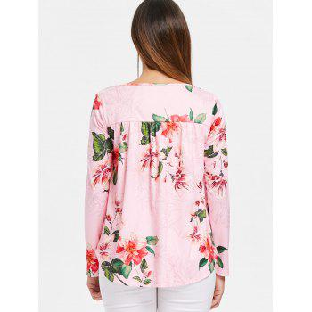 Floral Printed Cross Front Long Sleeve T-shirt - PINK 2XL