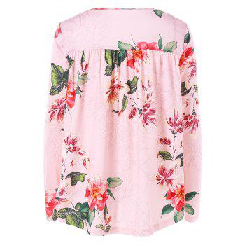 Floral Printed Cross Front Long Sleeve T-shirt - PINK XL