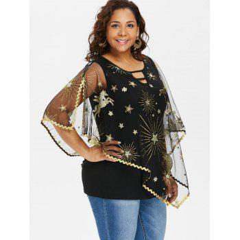 Plus Size Cutout Asymmetric Sparkly Capelet Blouse - BLACK 1X