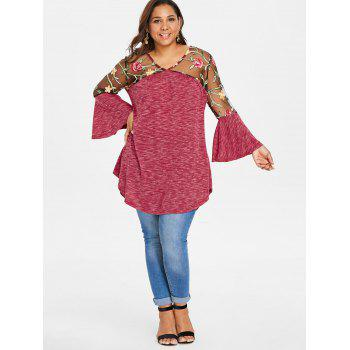 Plus Size Sheer Yoke Embroidery Marled T-shirt - RED 1X