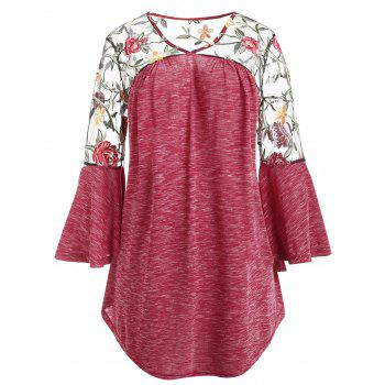 Plus Size Sheer Yoke Embroidery Marled T-shirt - RED L