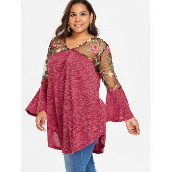 Plus Size Sheer Yoke Embroidery Marled T-shirt - RED 2X