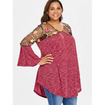 Plus Size Sheer Yoke Embroidery Marled T-shirt - RED 4X