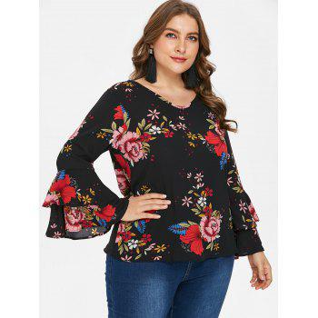 Plus Size Tiered Sleeve Print Blouse - BLACK 1X