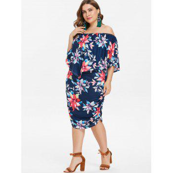 Plus Size Knee Length Ruched Popover Dress - CADETBLUE 3X